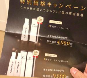 チャップアップ特別価格キャンペーンのチラシ